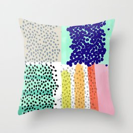 dots and color blocks Throw Pillow