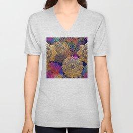 Bohemian 1960's Mandala Pattern of Rainbow Colors Unisex V-Neck