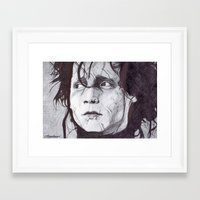 edward scissorhands Framed Art Prints featuring Edward Scissorhands   by DeMoose_Art