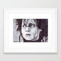 edward scissorhands Framed Art Prints featuring Edward Scissorhands   by DeMoose Art