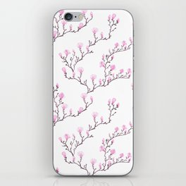 Pink watercolor magnolia pattern iPhone Skin