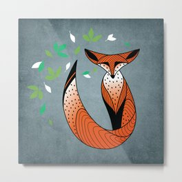 Dame Renard - Grey background with leaves Metal Print