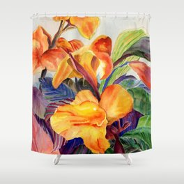 Floral, Colorful Flowers art print to add a splash of color, Watercolor Chicago Botanic Garden Flowe Shower Curtain