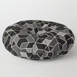 Black geometry / hexagon pattern Floor Pillow