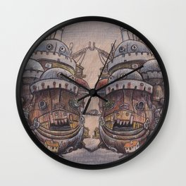 Howls Moving Castle on Wood Wall Clock