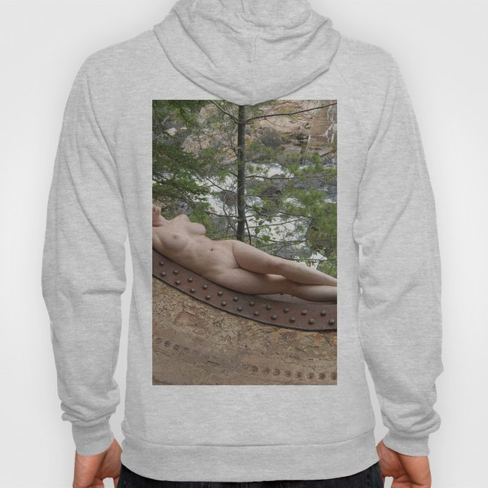 6893-LP Industrial Odalisque Fine Art Nude Woman by the Dead River Hoody