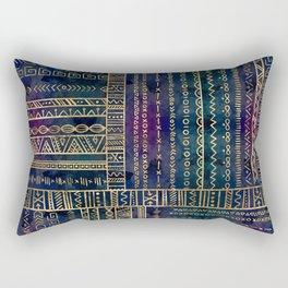 Tribal Ethnic pattern gold on painted texture Rectangular Pillow