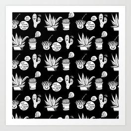 Cacti Chronicles - Black and White Comic Illustration Cactus Pattern Art Print