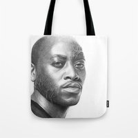 house md Tote Bags featuring Dr. Foreman-House MD-Omar Epps-Portrait by Olechka