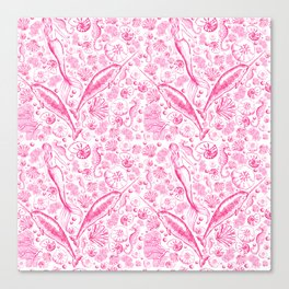 Mermaid Toile - Hot Pink Canvas Print