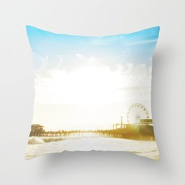 Retro Vintage Ombre Santa Monica Pier Southern California Beach Colored Print Throw Pillow