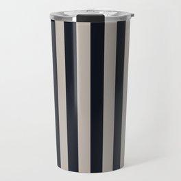 Vertical Stripes Black & Warm Gray Travel Mug