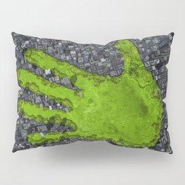 Carbon handprint / 3D render of modern city with handprint shaped park Pillow Sham