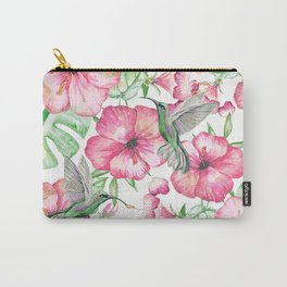 Hibiscus + Hummingbirds Pink Carry-All Pouch