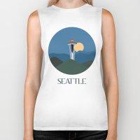 seattle Biker Tanks featuring Seattle by uzualsunday