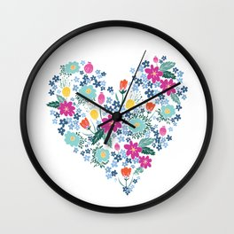 Floral Heart One Wall Clock