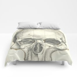 Vintage Skull - Black and White Drawing Comforters