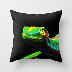 Gecko Lizard Close up 3d digital Art Throw Pillow