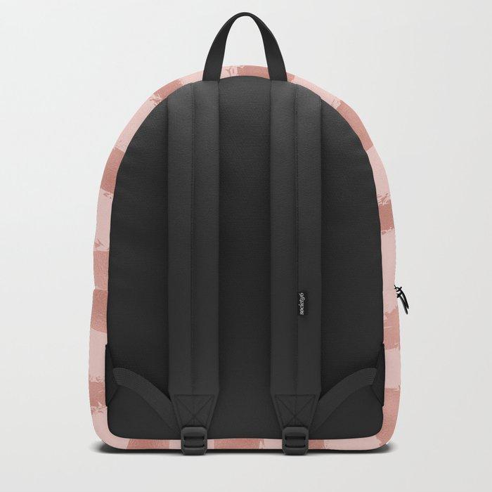 Elegant Rose Gold Metallic Handpainted Stripes Backpack