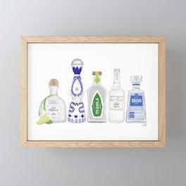 Tequila Bottles Illustration Framed Mini Art Print