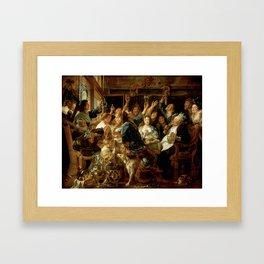 """Jacob Jordaens """"The Feast of the Bean King"""" Framed Art Print"""