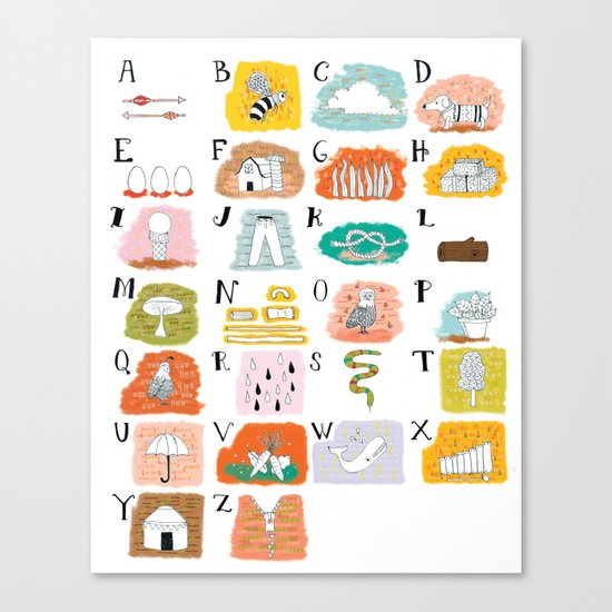 Illustrated ABC's Canvas Print