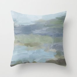 Diptych II - Sky Gray Blue Sage Green Abstract Wall Art, Painting Art, Lake Nature Print Portrait Throw Pillow