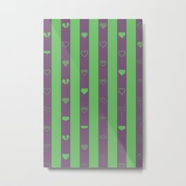 Love stripes pattern dark magenta and green Metal Print