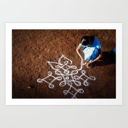 Woman drawing Rangoli in India Art Print