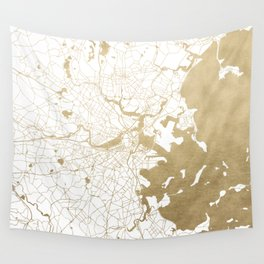 Boston White and Gold Map Wall Tapestry