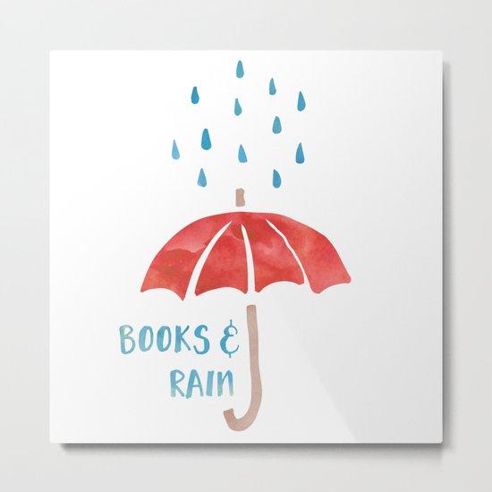 Books and Rain Metal Print