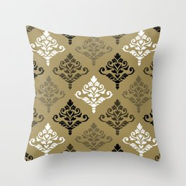 Cresta Damask Ptn Black White Bronzes Gold Throw Pillow