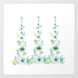 Blue Floral Twist Art Print