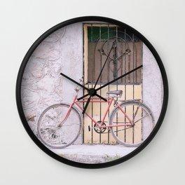 Red Bike/Yellow Door Wall Clock