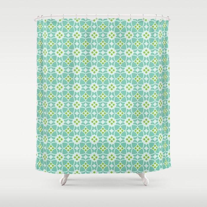 Mediterranean Sky Blue Tiles Shower Curtain