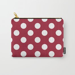 Crimson (UA) - purple -  White Polka Dots - Pois Pattern Carry-All Pouch