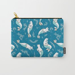 Aqua Blue Magical Cat Mermaid Swimming Pattern Carry-All Pouch