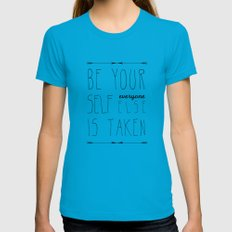 Be Yourself SMALL Teal Womens Fitted Tee