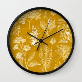 Yellow Mustard Vintage Floral Wall Clock