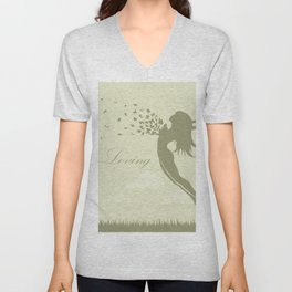 girl with butterflies in a jump Unisex V-Neck