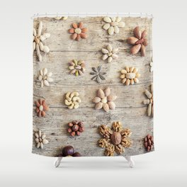 Dried fruits arranged forming flowers (4) Shower Curtain