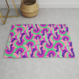 Retro Pink Purple Teal Painted Swirl Pattern Rug