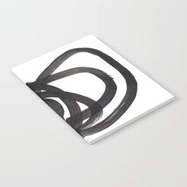 Black And White Minimalist Mid Century Abstract Ink Art Circle Swirls Black Circles Minimal Notebook