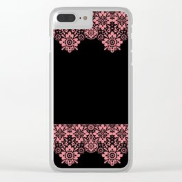 Retro .Vintage . Pink lace on a black background . Clear iPhone Case