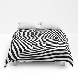 Op art rotating square in black and white Comforters