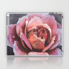 Bold Pink Rose Flower At Midnight With Love Laptop & iPad Skin