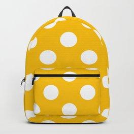 Golden poppy - yellow - White Polka Dots - Pois Pattern Backpack