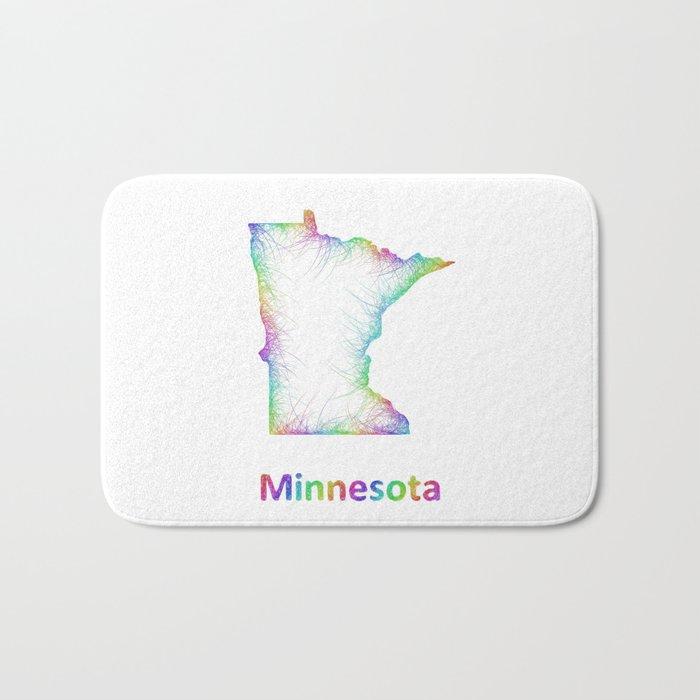 Rainbow Minnesota map Bath Mat