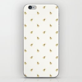 Gold Watercolour Bee Print iPhone Skin