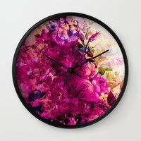 climbing Wall Clocks featuring climbing  roses by clemm